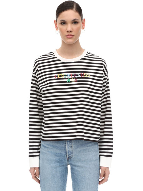LEVI'S RED TAB Logo Embroidered Striped Cotton T-shirt in black / white