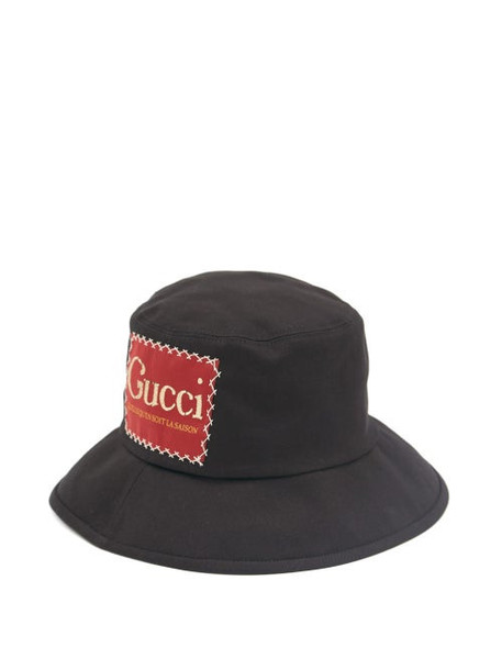 Gucci - Logo-patch Cotton-twill Bucket Hat - Mens - Black