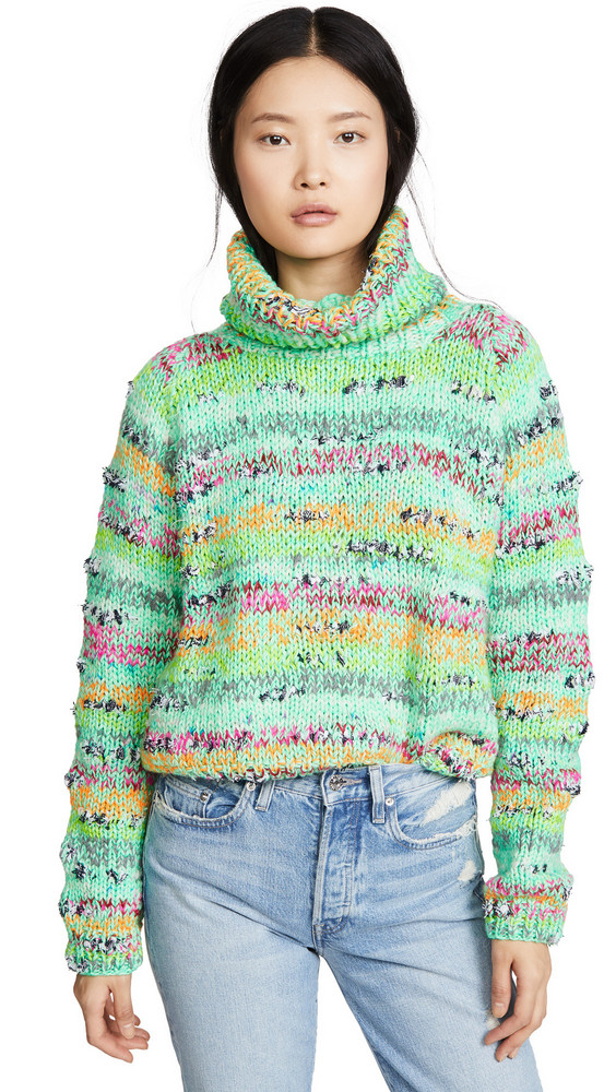 Michaela Buerger Cropped Rollback Sweater in green