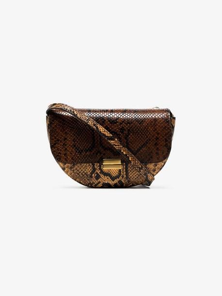 Wandler brown Anna big snake-embossed leather belt bag