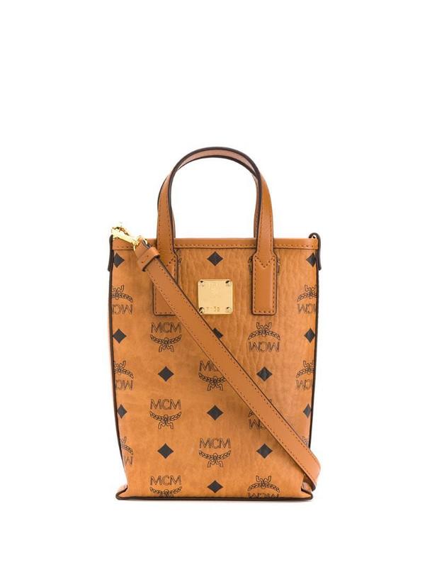 MCM logo print tote bag in brown