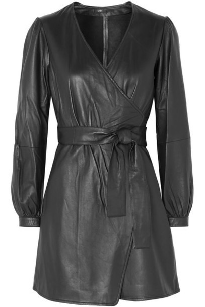 Maje - Rosetola Leather Wrap Dress - Black