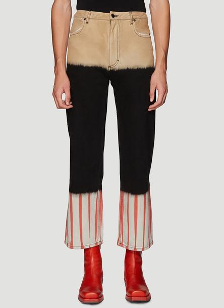 Eckhaus Latta Tie-Dye Wide-Leg Jeans in Black size 34