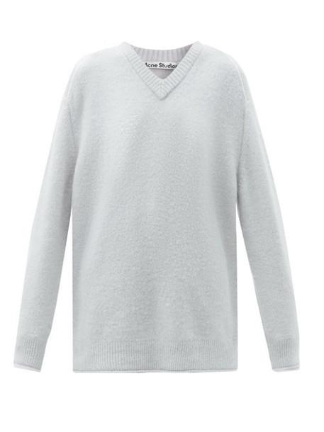 Acne Studios - V-neck Dropped-sleeve Sweater - Womens - Light Blue