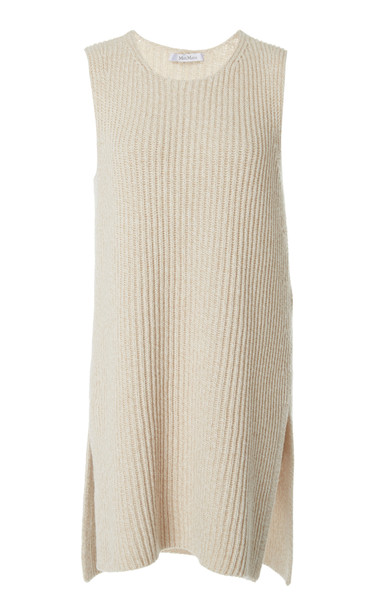 Max Mara Bosforo Metallic Wool-Cashmere Waffle-Knit Top in neutral