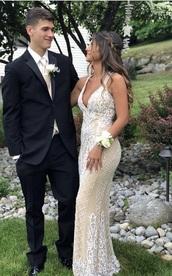dress,tan dress,white dress,gold dress,beaded dress