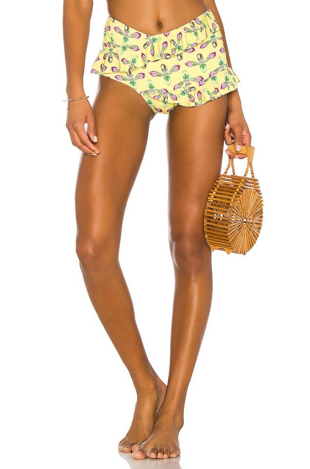 PatBo Ruched Bikini Bottom in yellow