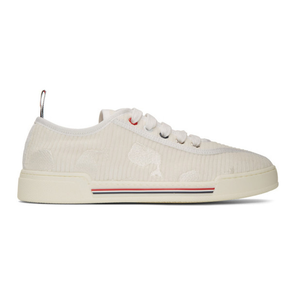 Thom Browne White Corduroy Low-Top Sneakers