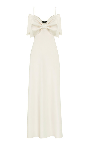 Anna October Bow-Embellished Satin Maxi Dress in white