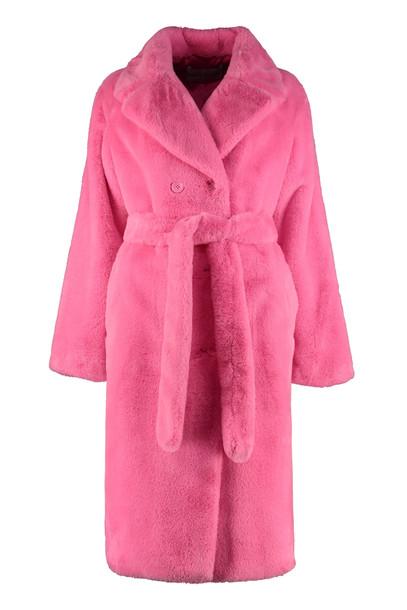 STAND STUDIO Faustine Faux Fur Coat in fuchsia
