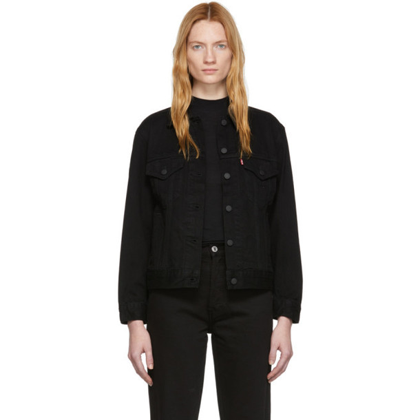 Levi's Black Denim Ex-Boyfriend Trucker Jacket
