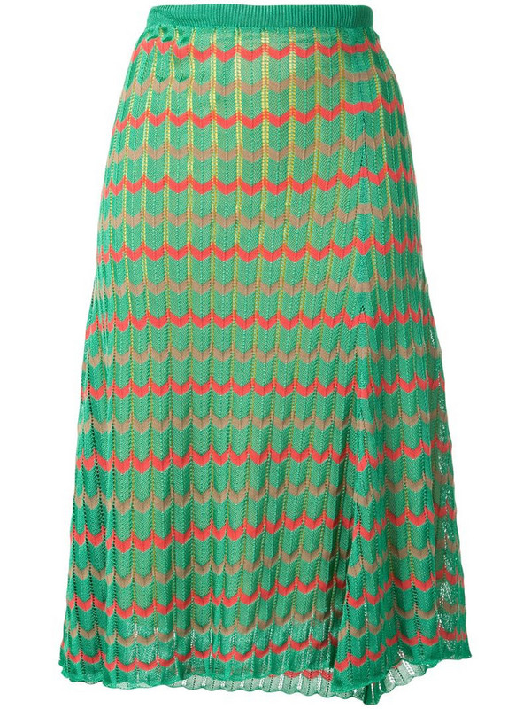 Kolor chevron pattern knitted skirt in green
