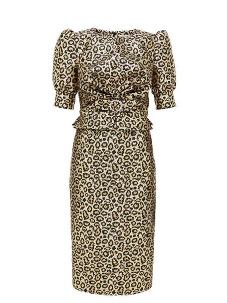 Alessandra Rich - Crystal-embellished Leopard-brocade Dress - Womens - Gold