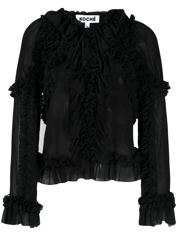 Koché ruffled v-neck blouse in black