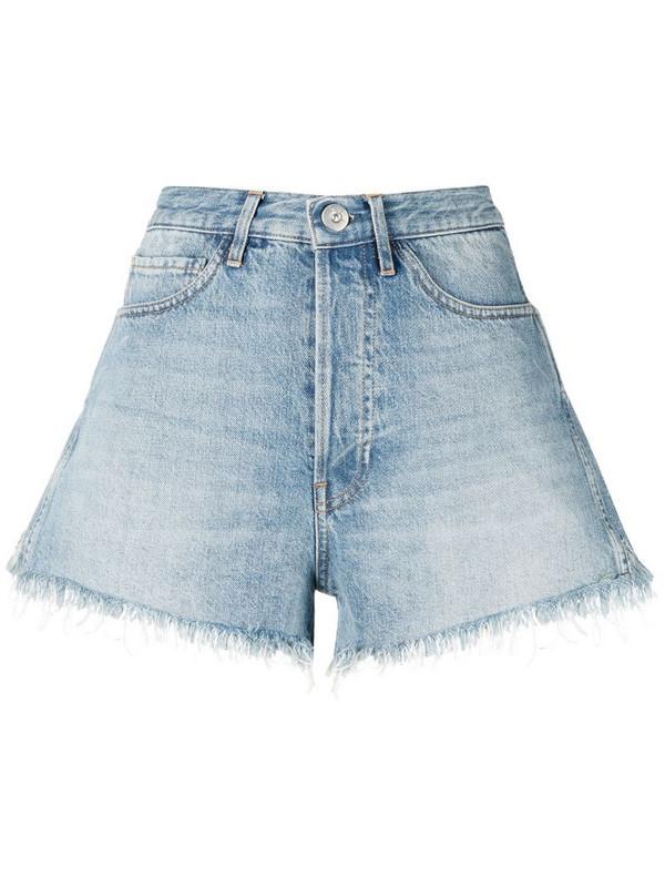 3x1 distressed denim shorts in blue