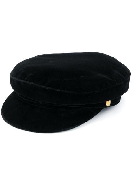 Manokhi velvet baker boy hat in black