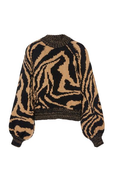 Ganni Intarsia Wool and Alpaca-Blend Sweater Size: XS