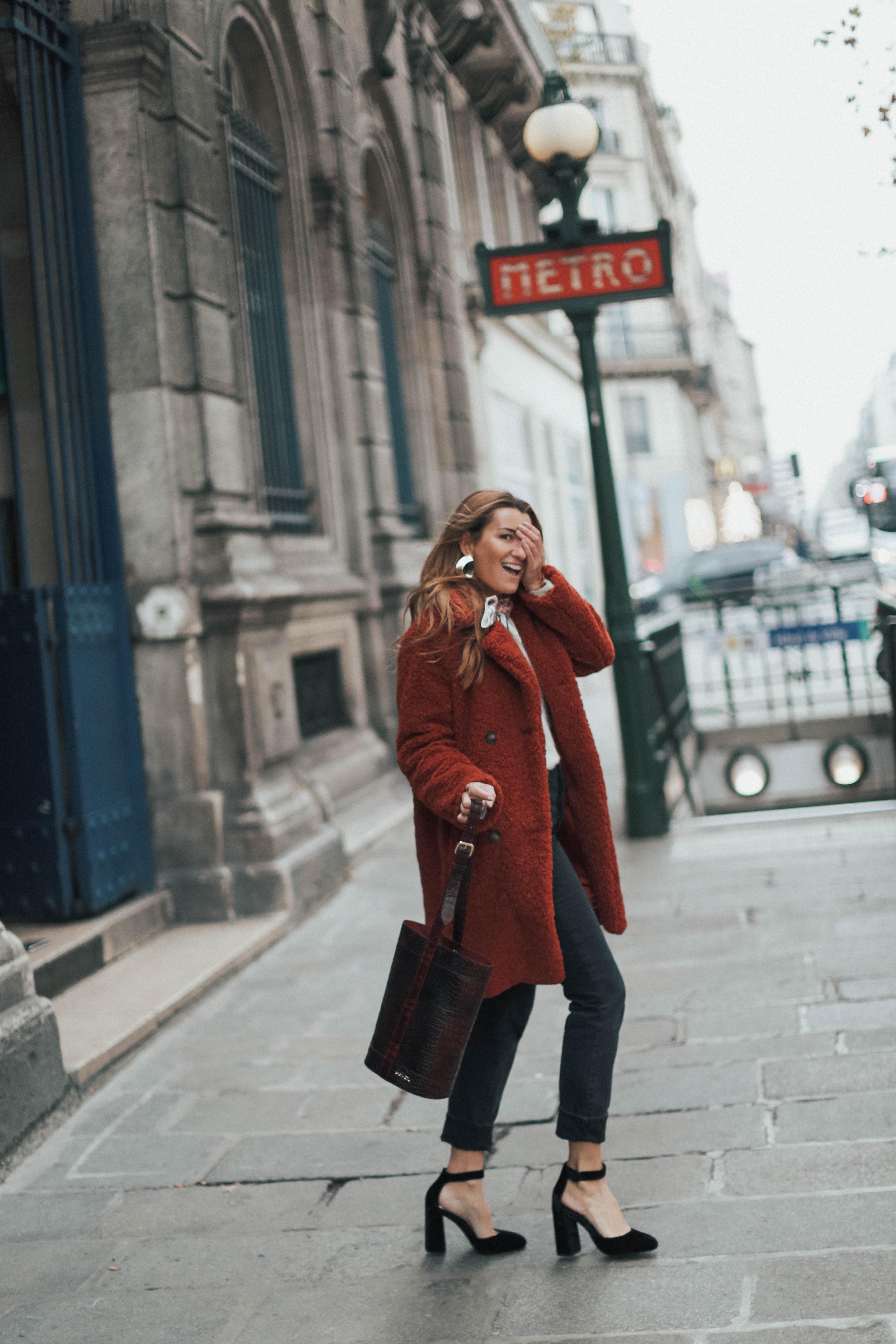 b a r t a b a c blogger coat pants shoes bag sweater scarf high heel pumps teddy bear coat winter outfits