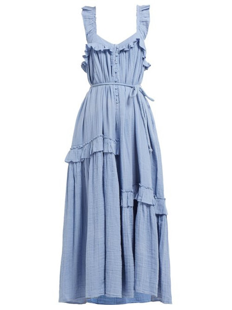Apiece Apart - Lypie Ruffled Cotton Maxi Dress - Womens - Light Blue