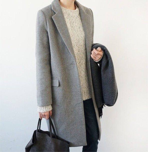 coat grey long winter outfits