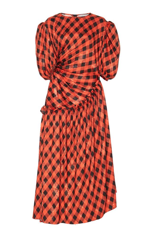 Preen by Thornton Bregazzi Indy Printed Ruched Dress in red