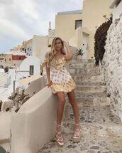 dress,mini dress,floral dress,off the shoulder dress,white sandals,platform sandals