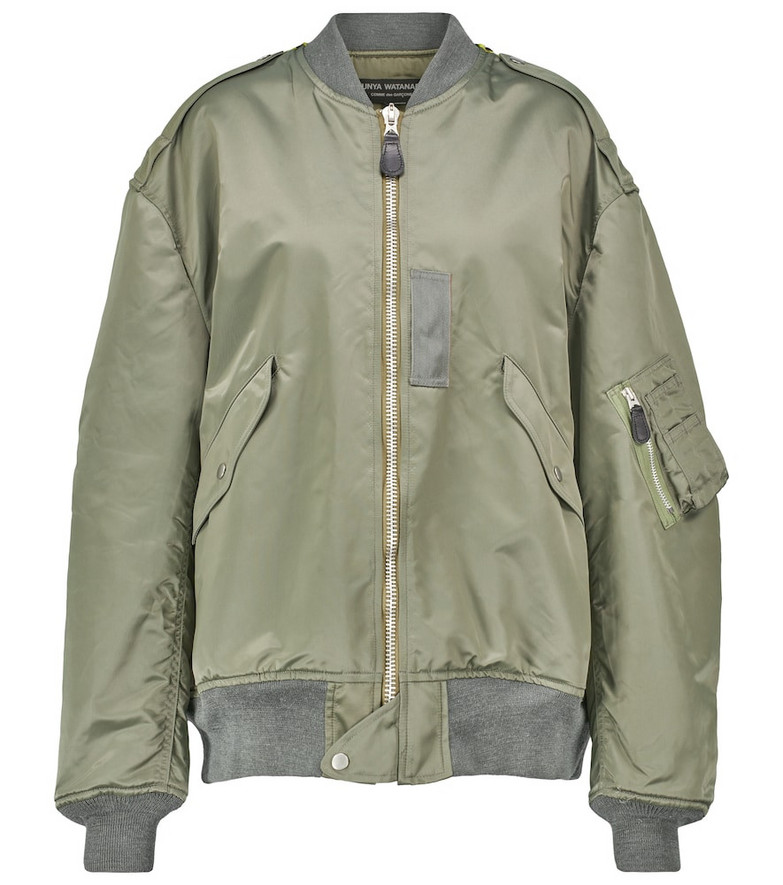 Junya Watanabe Nylon and faux fur bomber jacket in green