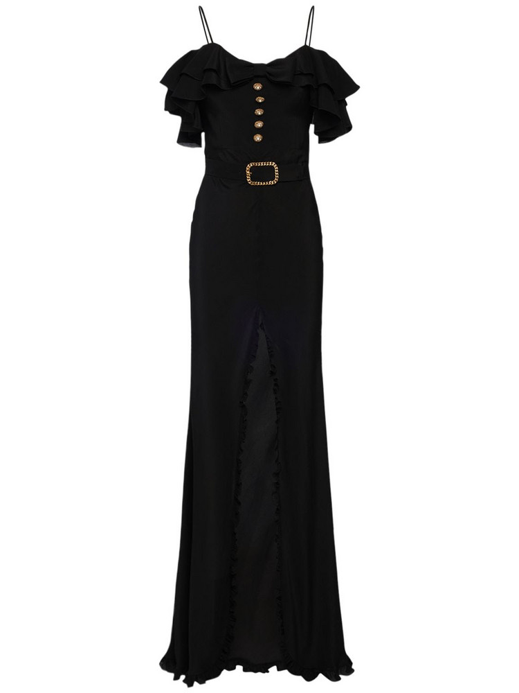 ALESSANDRA RICH Silk Long Dress W/ Ruffles Bow & Buttons in black