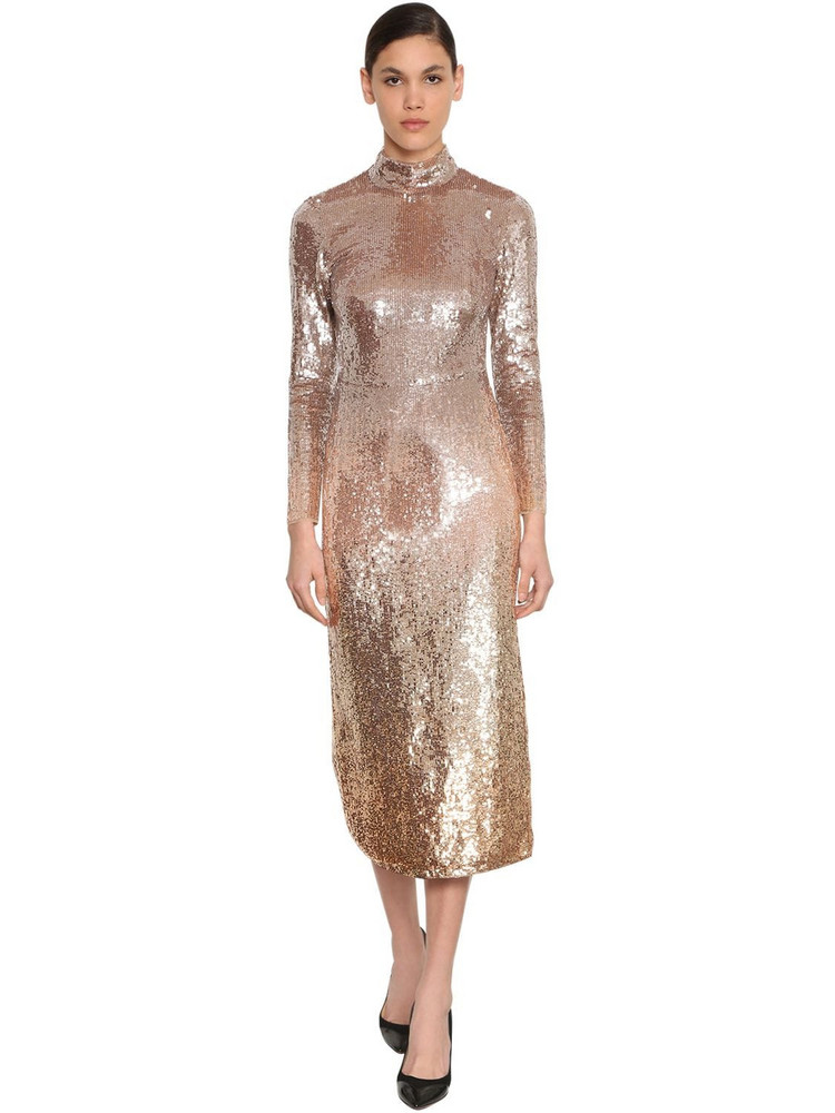 TEMPERLEY LONDON Degradé Sequined Stretch Tulle Dress in gold