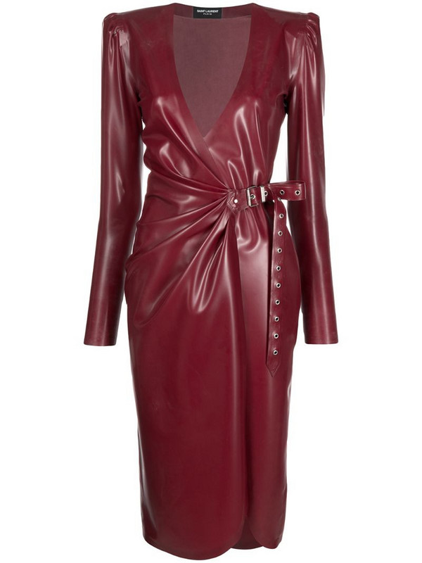 Saint Laurent latex wrap dress in red