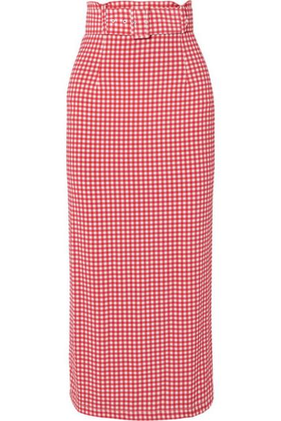 BERNADETTE - Monica Belted Gingham Stretch-jersey Midi Skirt - Red