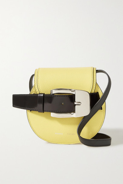 Proenza Schouler - Buckle-embellished Textured And Patent-leather Shoulder Bag - Pastel yellow