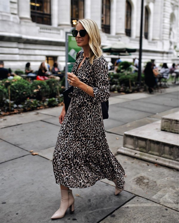 dress midi dress leopard print ankle boots bag