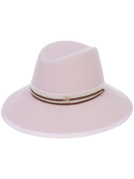 Maison Michel plaque detail hat in pink