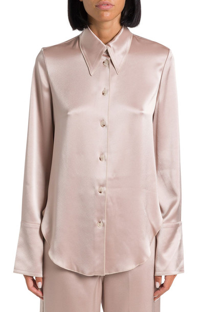 Nanushka Satin Slip Shirt in beige