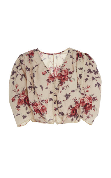LoveShackFancy Tarren Floral-Print Cropped Cotton Top Size: XS
