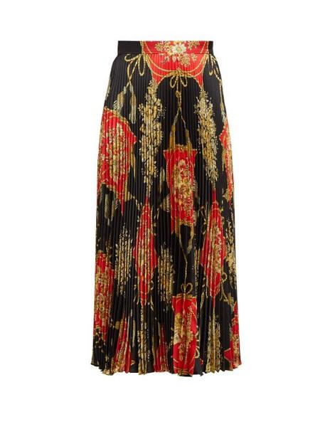 Gucci - Flower And Tassel Print Pleated Silk Midi Skirt - Womens - Red Multi