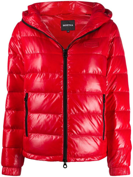 Duvetica hooded puffer jacket in red