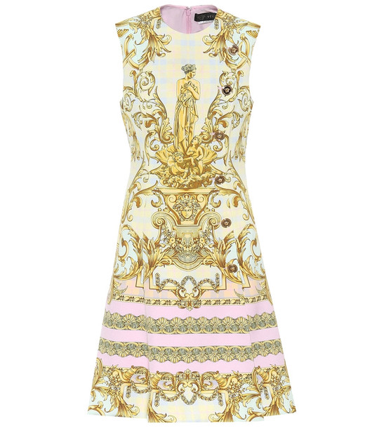 Versace Exclusive to Mytheresa – Printed cady minidress in gold