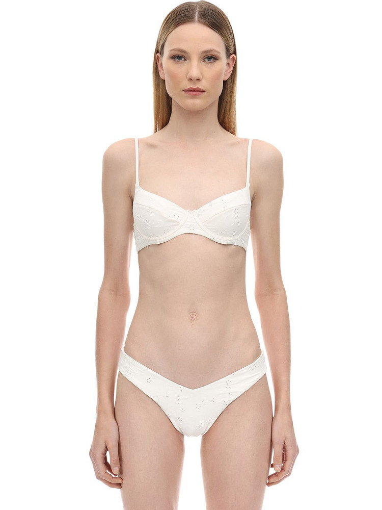 ONIA X WEWOREWHAT Lydia Eyelet Lace Bikini Top in white