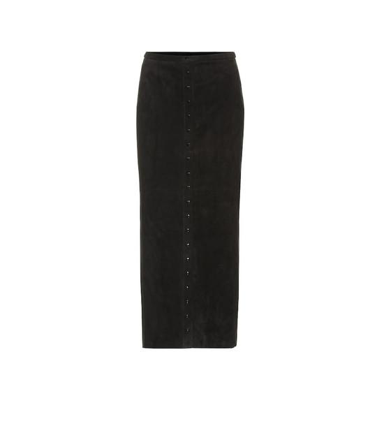 Stouls Rachel suede midi skirt in black