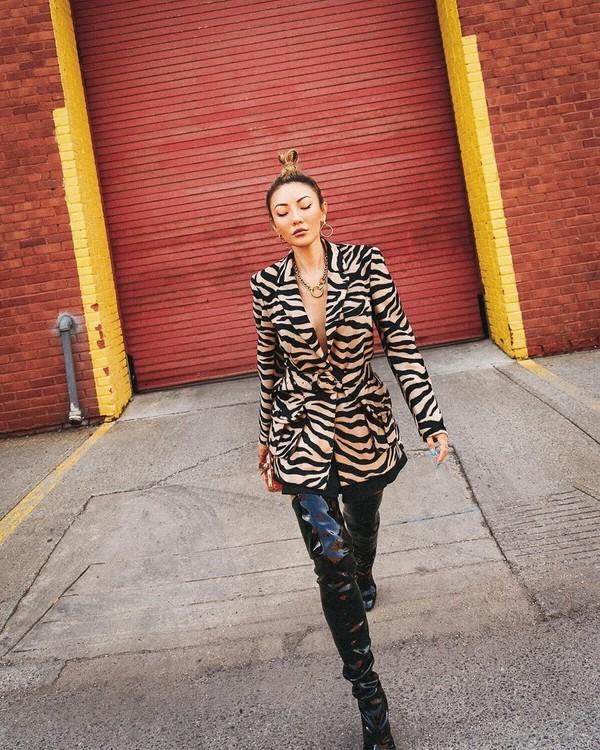 jacket blazer zebra over the knee boots vinyl