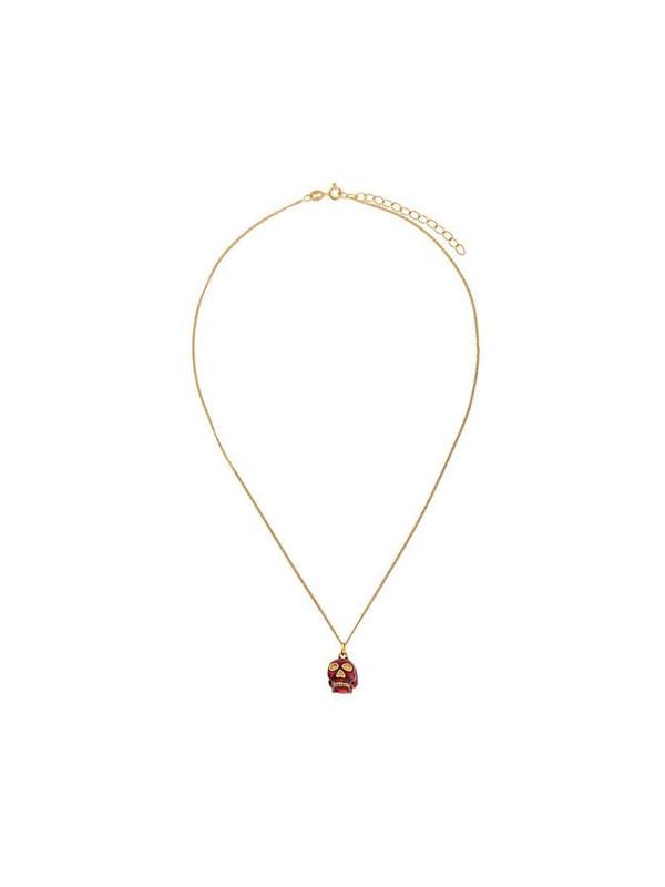 True Rocks Red Skull pendant necklace in gold