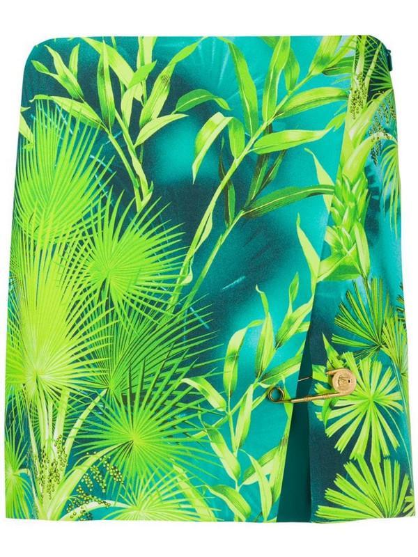 Versace palm tree print skirt in green