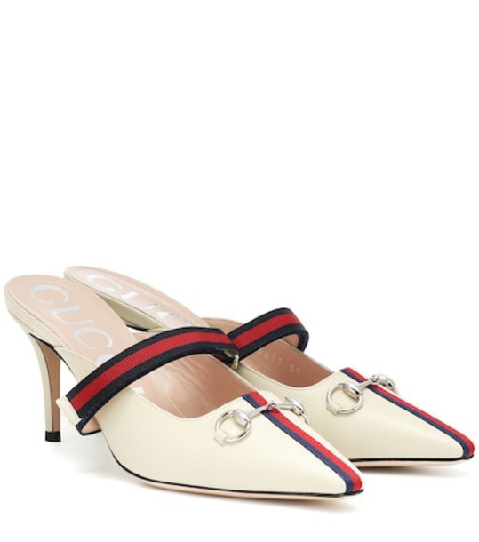 Gucci Web leather mules in white
