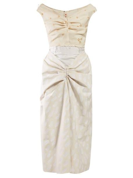 Marni - Off Shoulder Gathered Front Cotton Midi Dress - Womens - Beige Multi