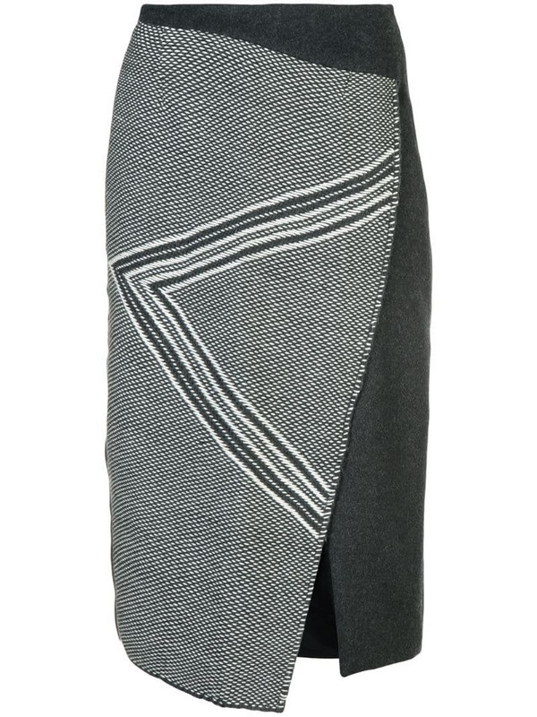 VOZ asymmetric pattern skirt in grey