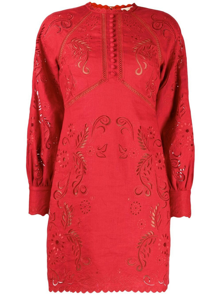 Michael Kors floral-embroidered hemp mini dress in red