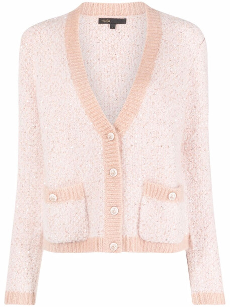 Maje button-up knitted cardigan - Pink