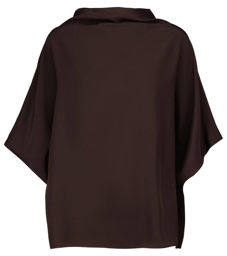 The Row Lefina silk crêpe de chine top in brown